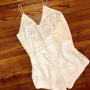 Spell & The Gypsy Sleeveless Lace Romper White Sm
